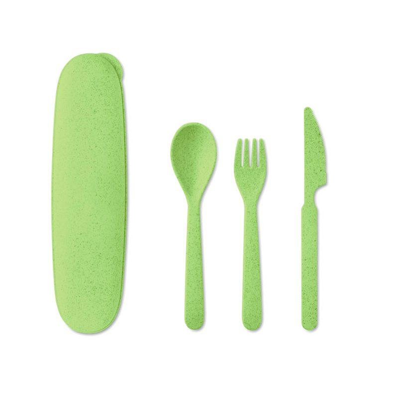 Set de cubiertos ecológicos, estuche, tenedor, cuchara y cuchillo. Varios colores. set cubiertos ecologicos color verde claro