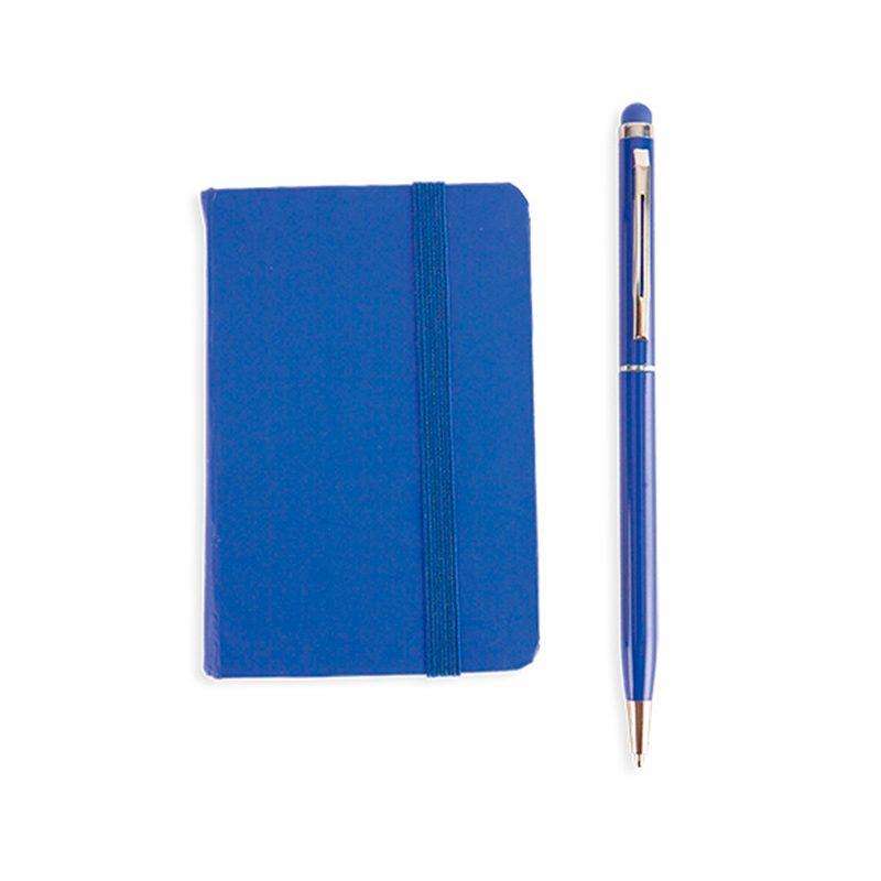 Set de libreta + bolígrafo en caja de cartón