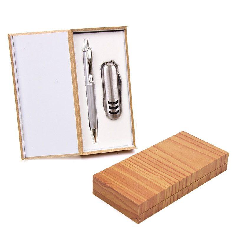 Set de navaja multiusos y bolígrafo en cajita de madera