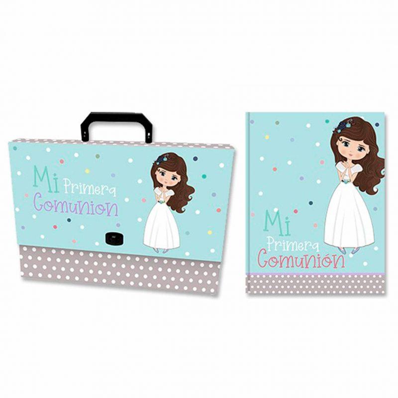 Set maletín y libro de recuerdos de comunión. Topitos. 32x24,5cm. set maletin y libro de recuerdos de comunion topitos 32x245 cm scaled