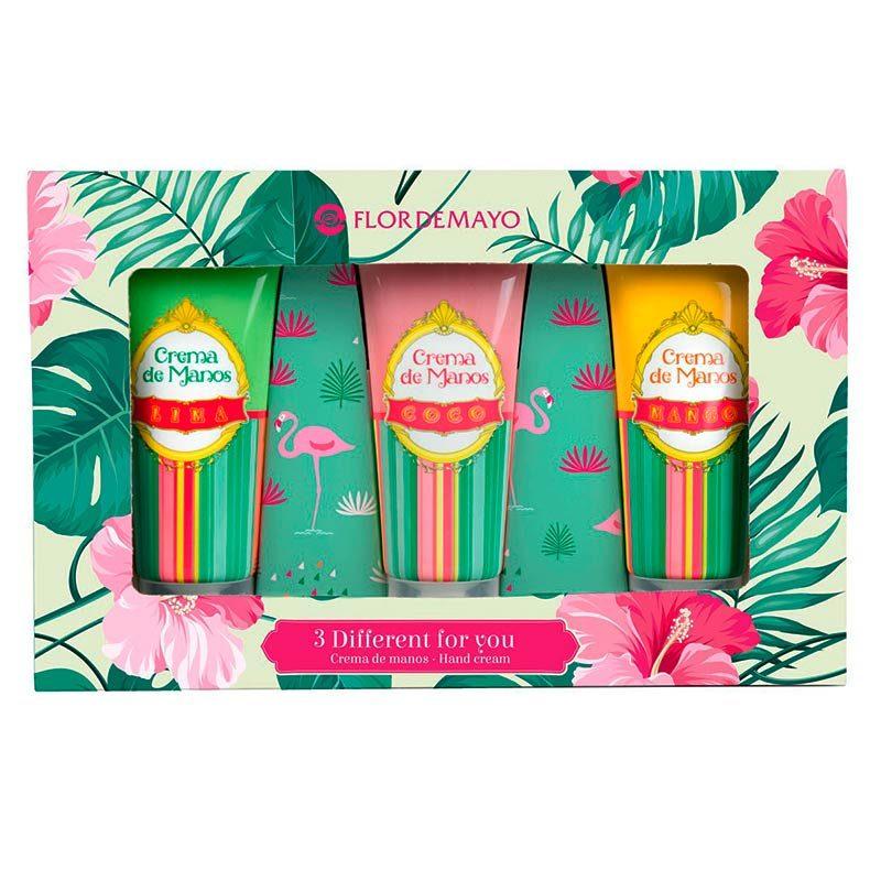 Set regalo 3 cremas de manos. Modelo tropical