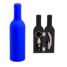 Set de vino para boda, 3 piezas en color azul.