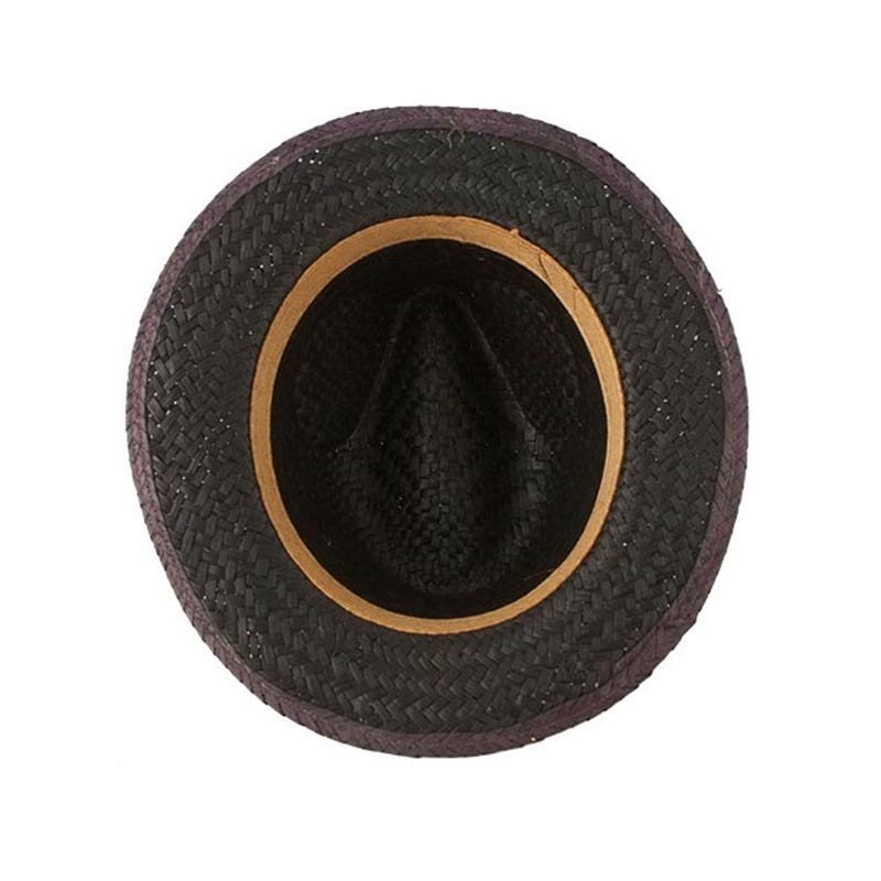Sombrero de paja modelo capo en color negro sombrero paja capo negro interior