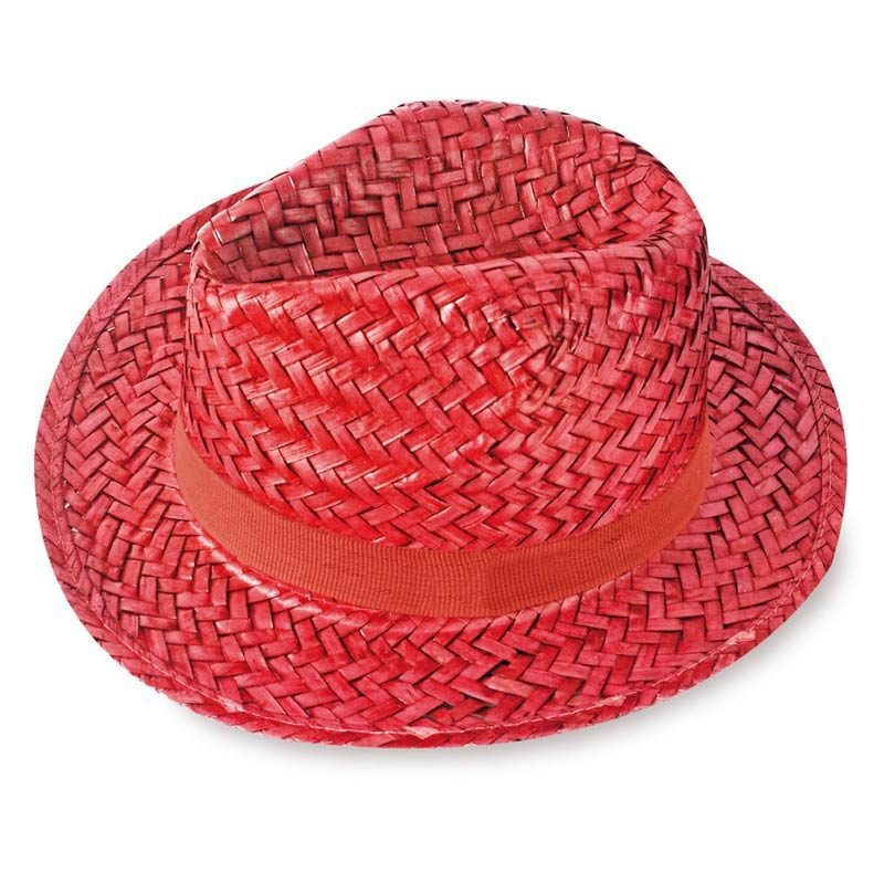 sombrero de paja modelo capo en color rojo