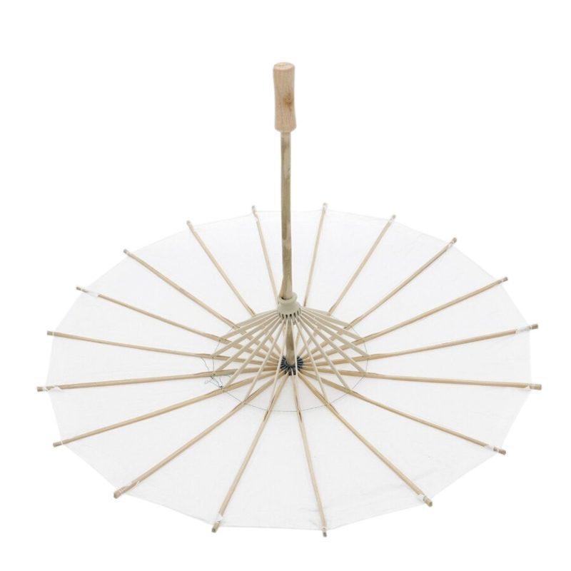 Sombrilla de bambú en color blanco. 60cm. Hecho a mano
