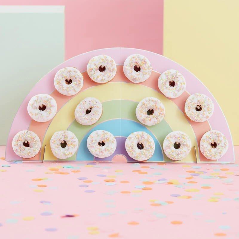 Soporte para donuts. Modelo Arcoiris. 14 donuts. tabla para donuts rainbow