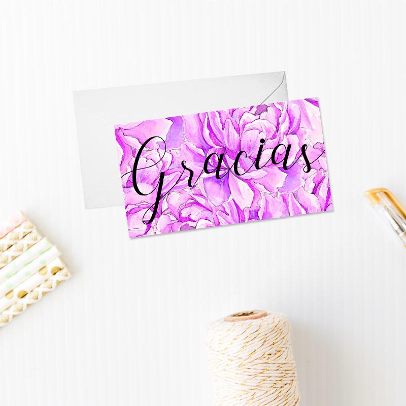 tarjeta de agradecimiento modelo violet