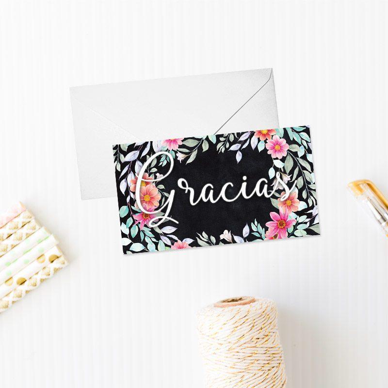 Tarjeta de agradecimiento modelo corona floral rosa tarjeta agradecimiento corona floral rosa