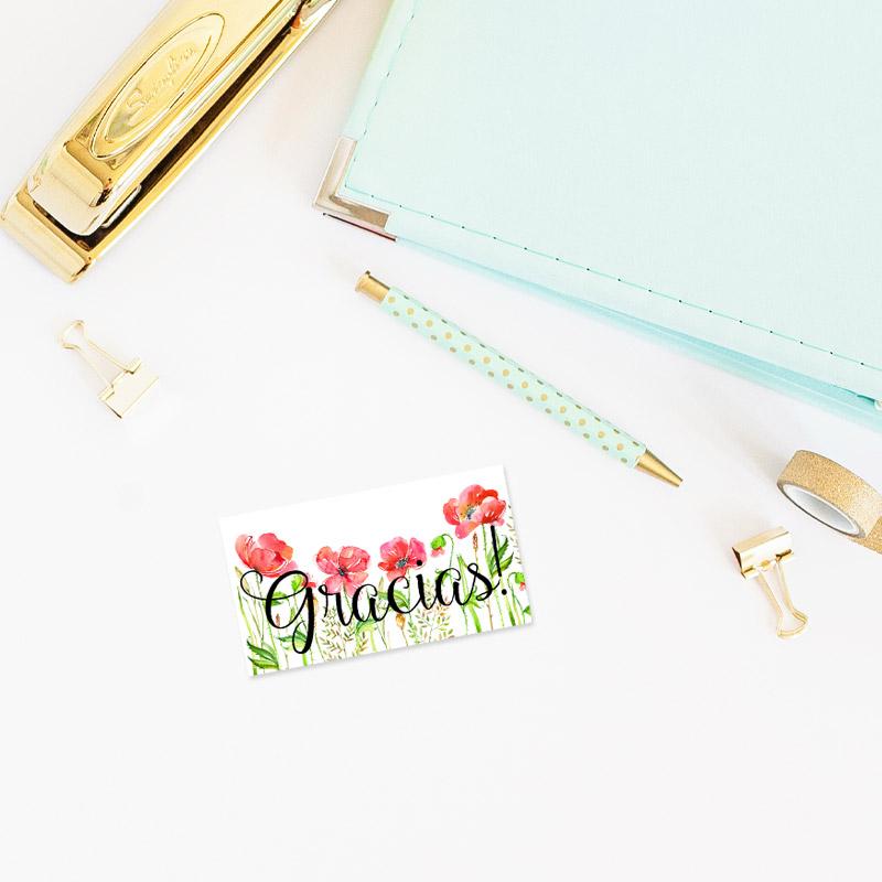 tarjeta de agradecimiento modelo amapolas