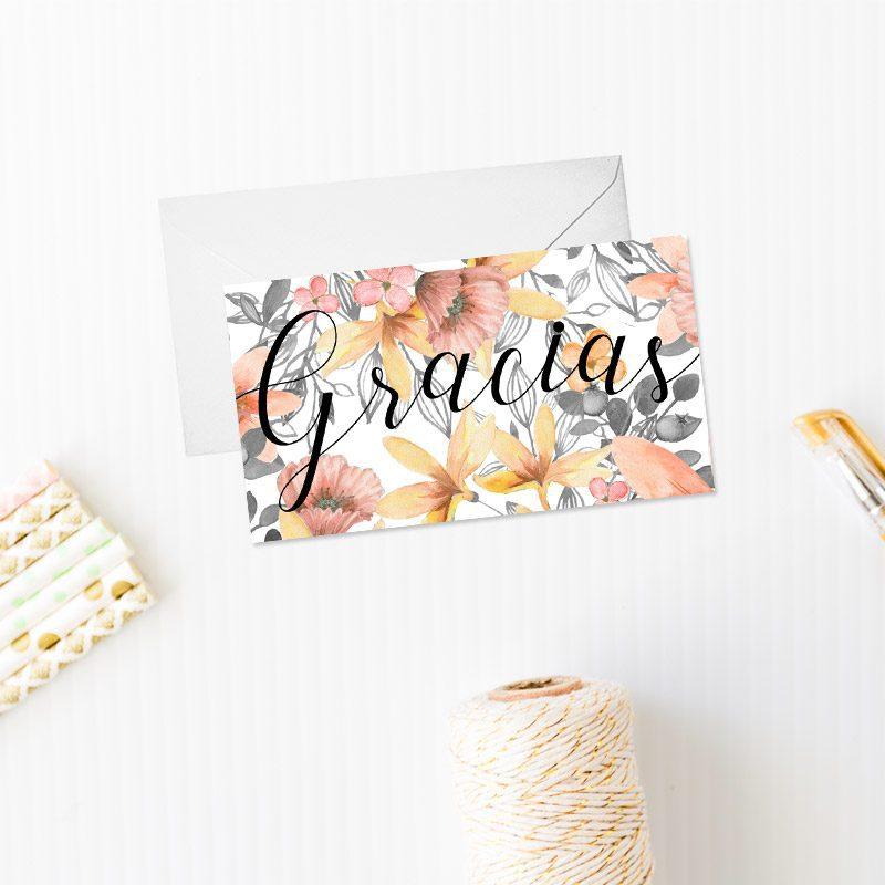 tarjeta de agradecimiento para boda modelo gray