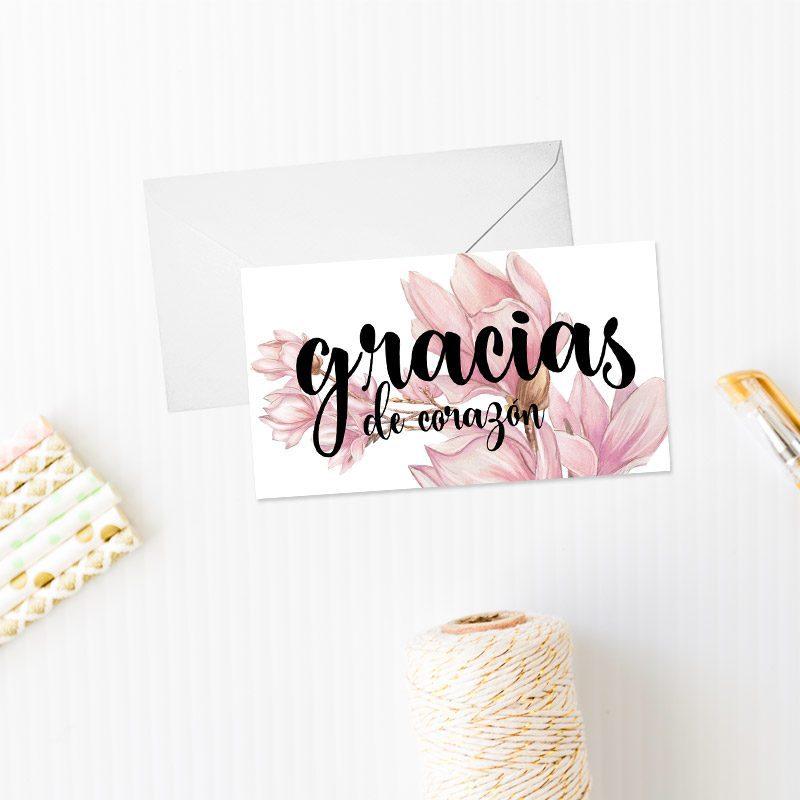 tarjeta de agradecimiento modelo magnolio