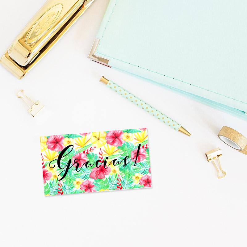 tarjeta de agradecimiento modelo tropical