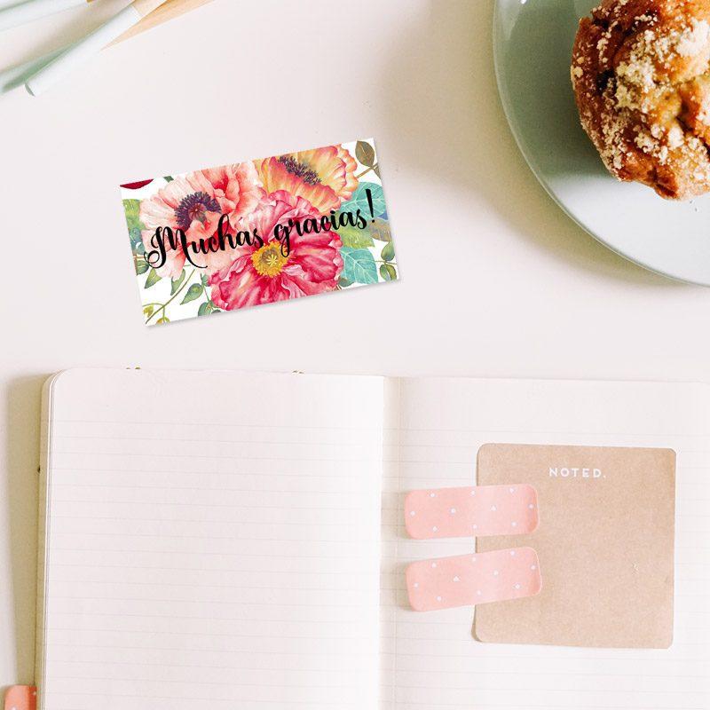 tarjeta de agradecimiento modelo anémona