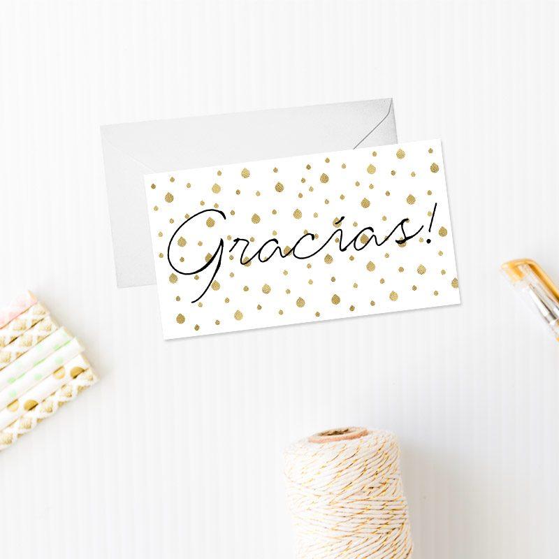tarjeta de agradecimiento modelo gotas