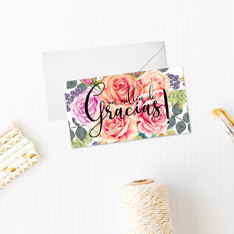 tarjeta de agradecimiento modelo ramo de rosas