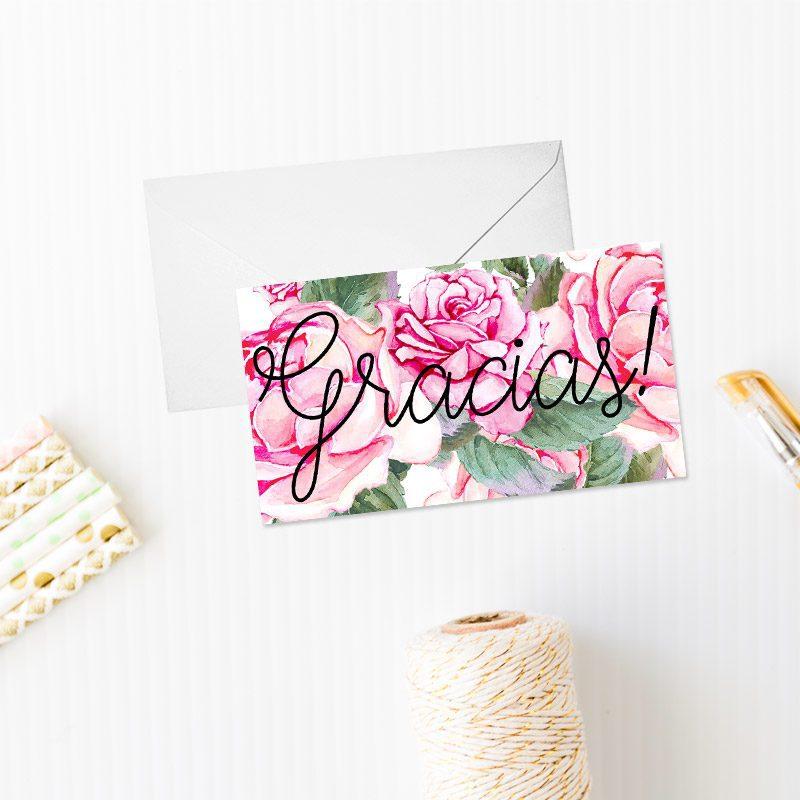 tarjeta de agradecimiento modelo rosas