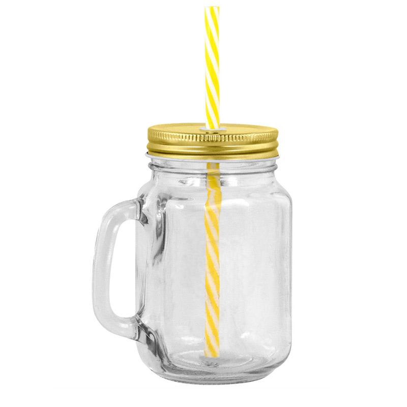 Nuevo tarro de cristal con pajita y jarra. 4 colores. 450ml.