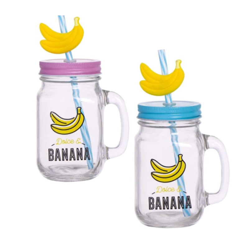 Tarro de cristal Bananas 450ml Incluye pajita. 2 colores.