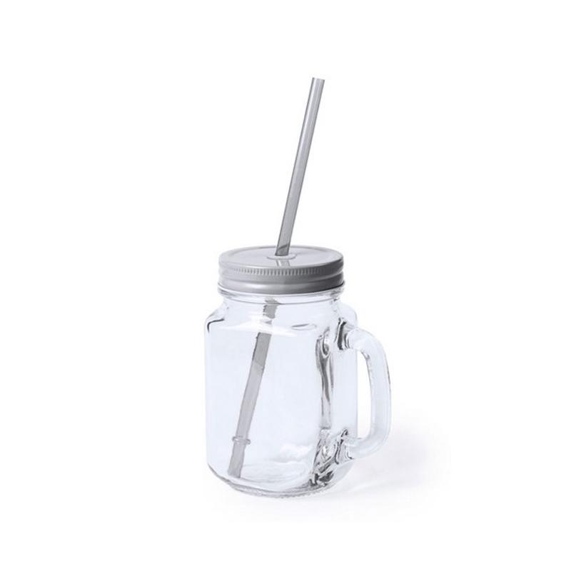 Tarro de cristal con tapa, pajita y asa. 6 colores. 500ml