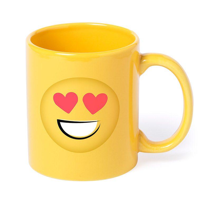 Taza amarilla emoji. 4 modelos diferentes. 370ml