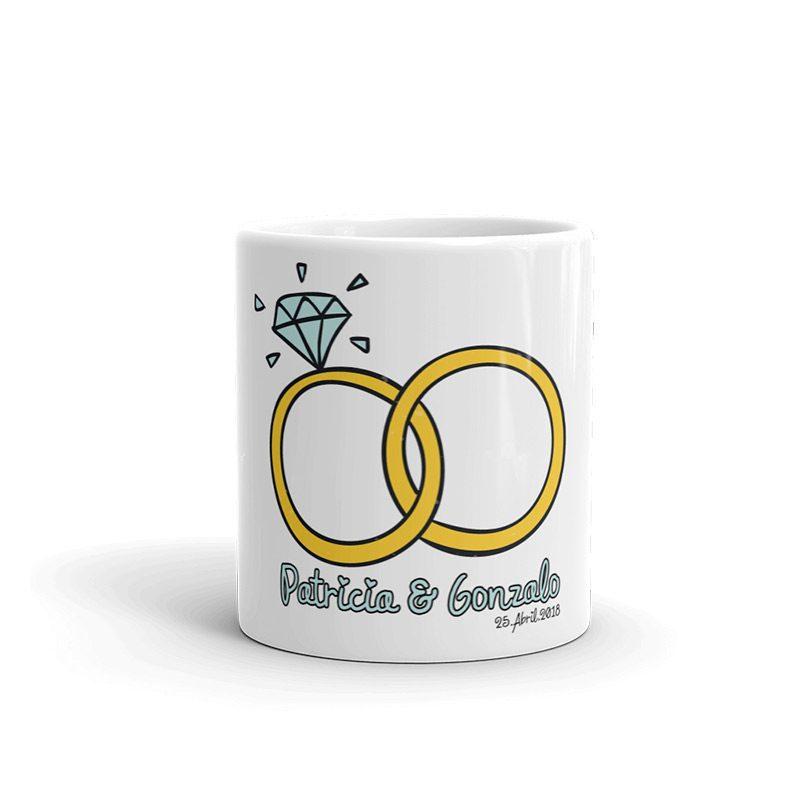 Taza para boda personalizada, modelo alianzas