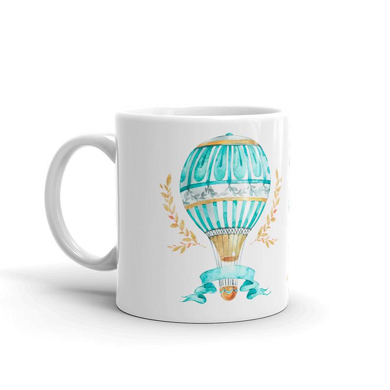 Taza personalizada para boda, vuelo en globo