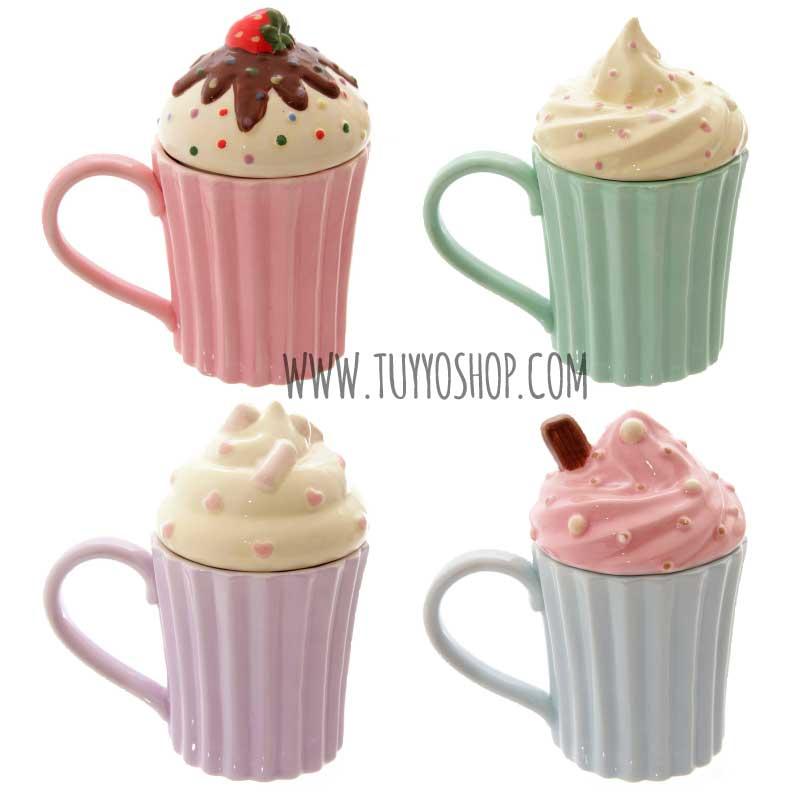 Taza de cerámica Cupcake con tapa