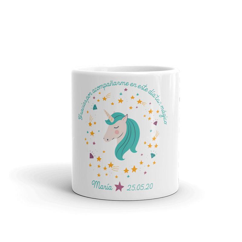 Taza para regalo de comunión. Green unicornio.