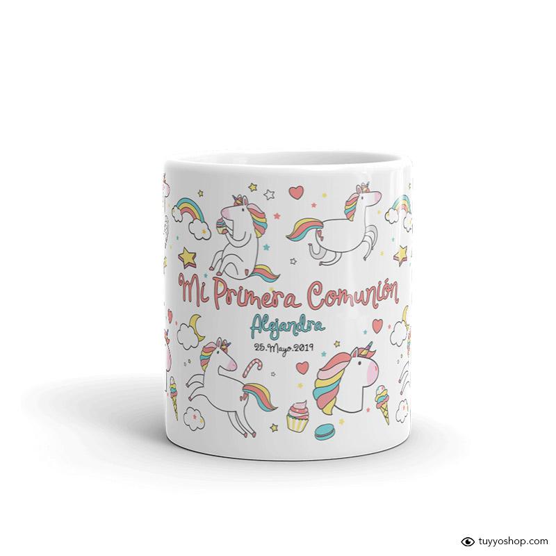 Taza de comunión personalizada. Unicornios.