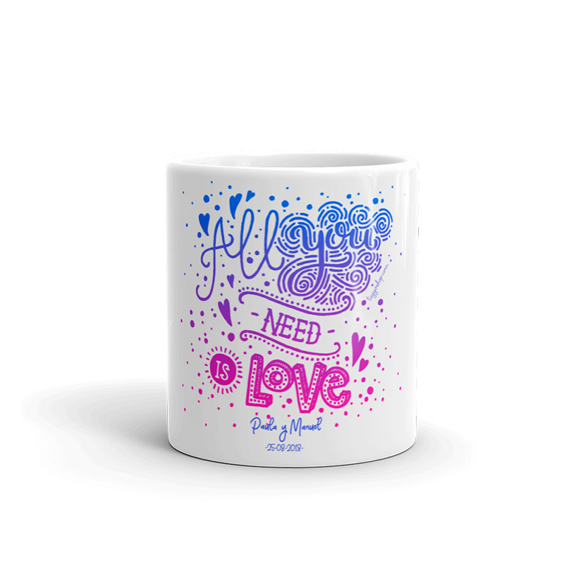 "Taza personalizada boda ""All you need is love"""