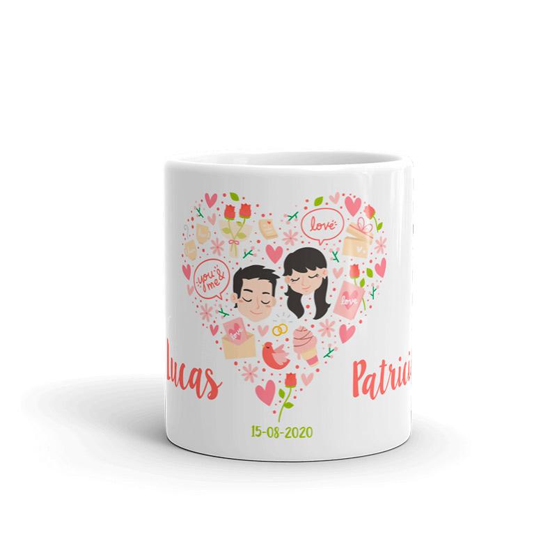 Taza para boda modelo corazón de flores