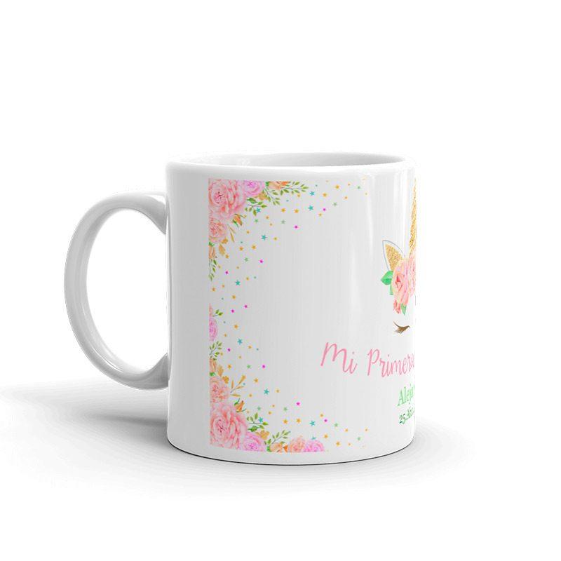 Taza para comunión. Personalizada. Glitter unicornio.