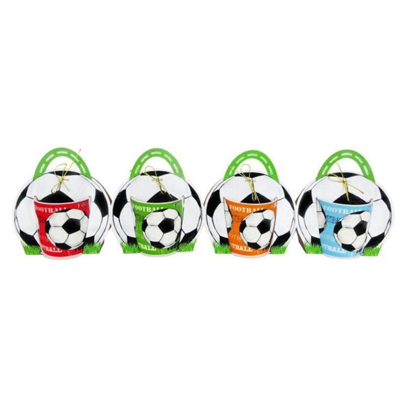 Taza fútbol presentada en bolsa de regalo
