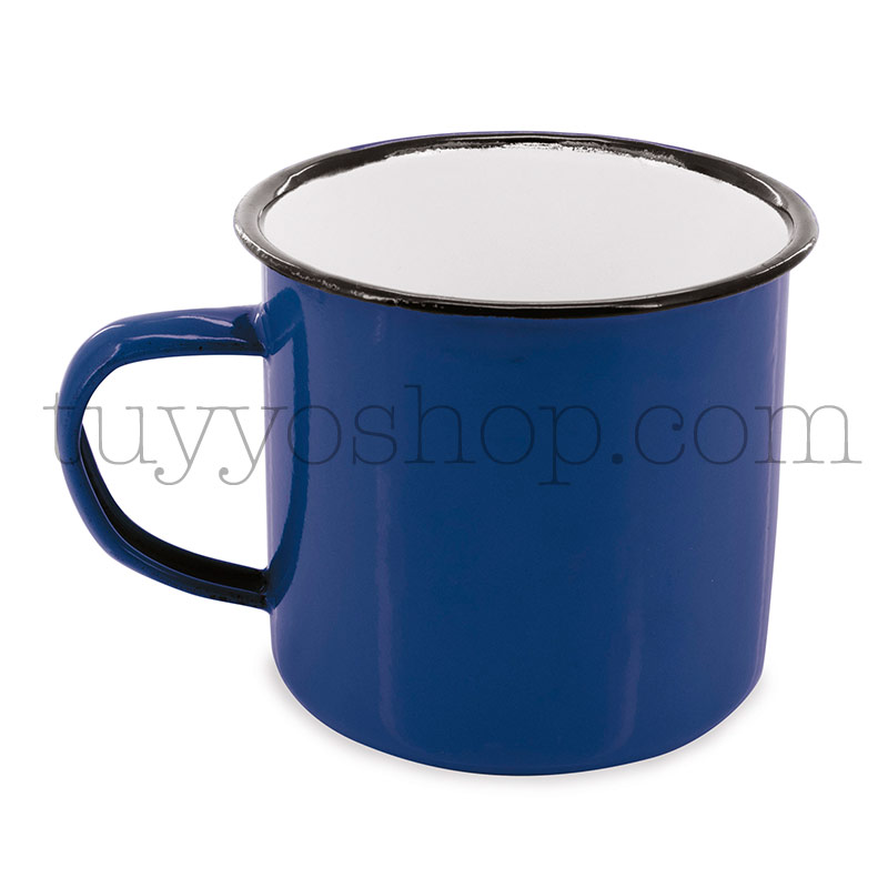 Taza metálica estilo retro. 5 colores. 350ml. 9x8cm. taza metal retro azul