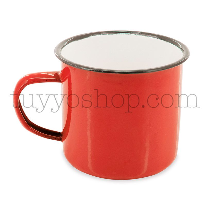 Taza metálica estilo retro. 5 colores. 350ml. 9x8cm. taza metal retro roja