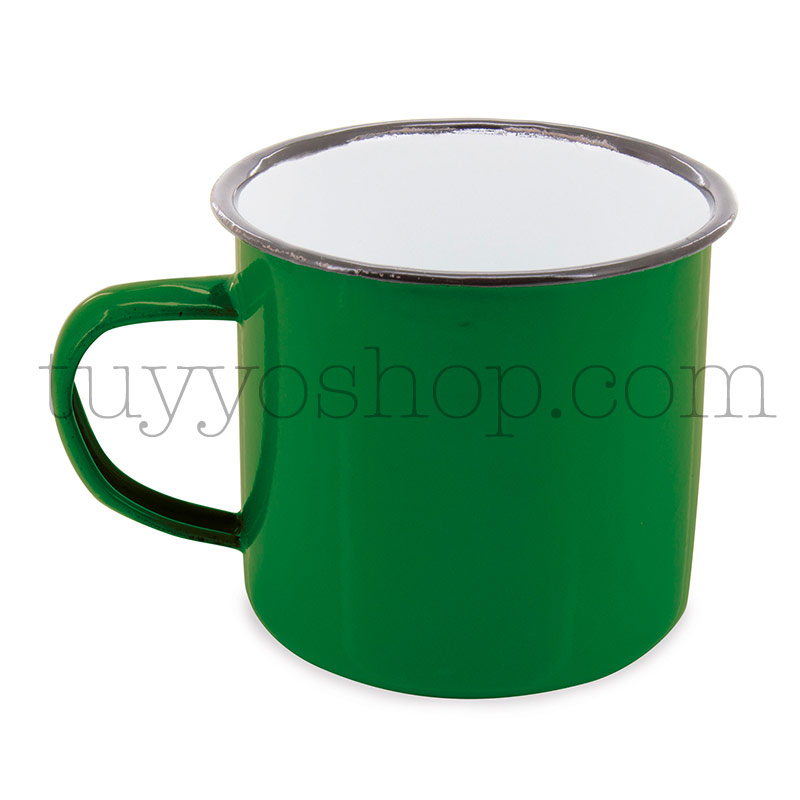 Taza metálica estilo retro. 5 colores. 350ml. 9x8cm. taza metal retro verde