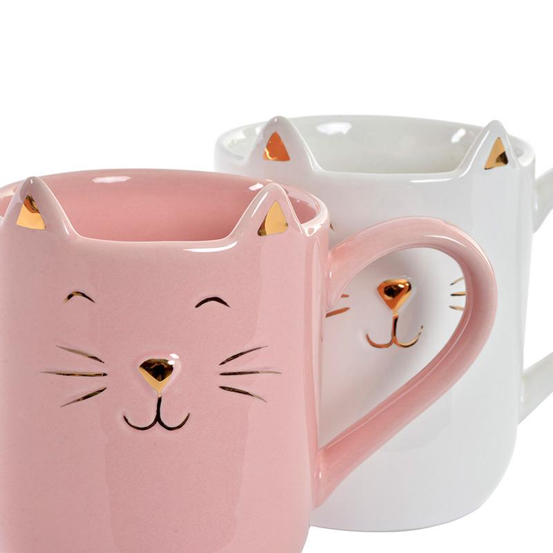 Bonita taza para regalo. Modelo Cats. Detalles dorados. 2 colores.