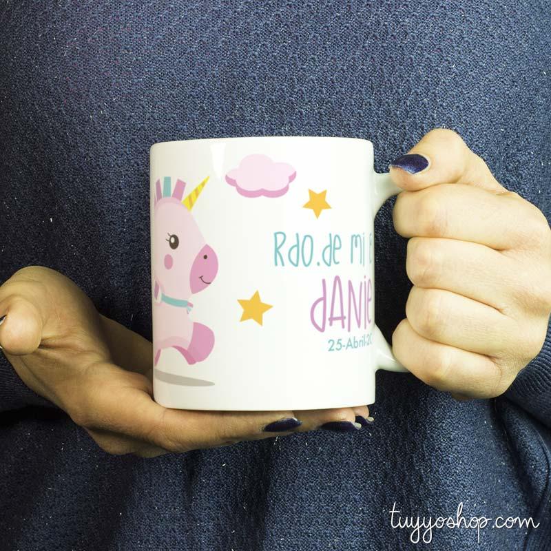 Taza para bautizo, modelo Pink Unicornio