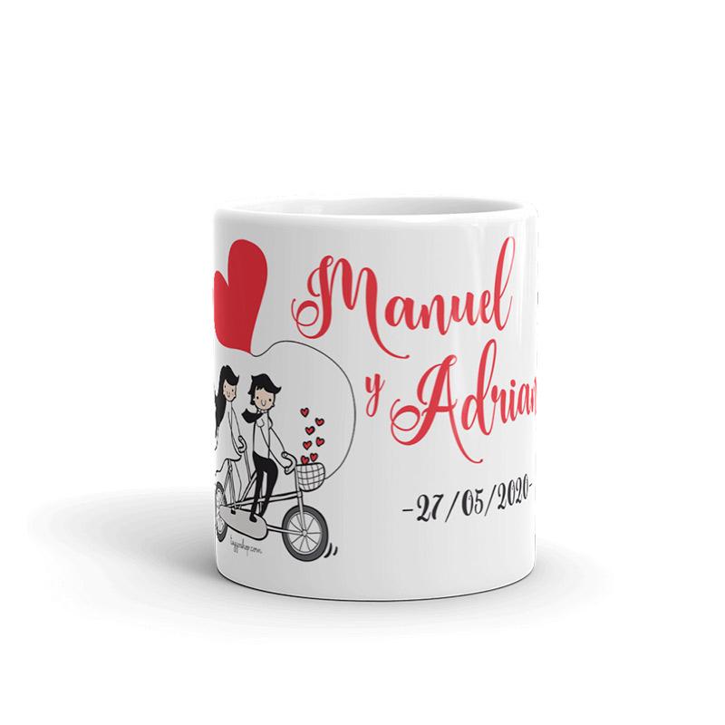 Taza personalizada boda bicicleta