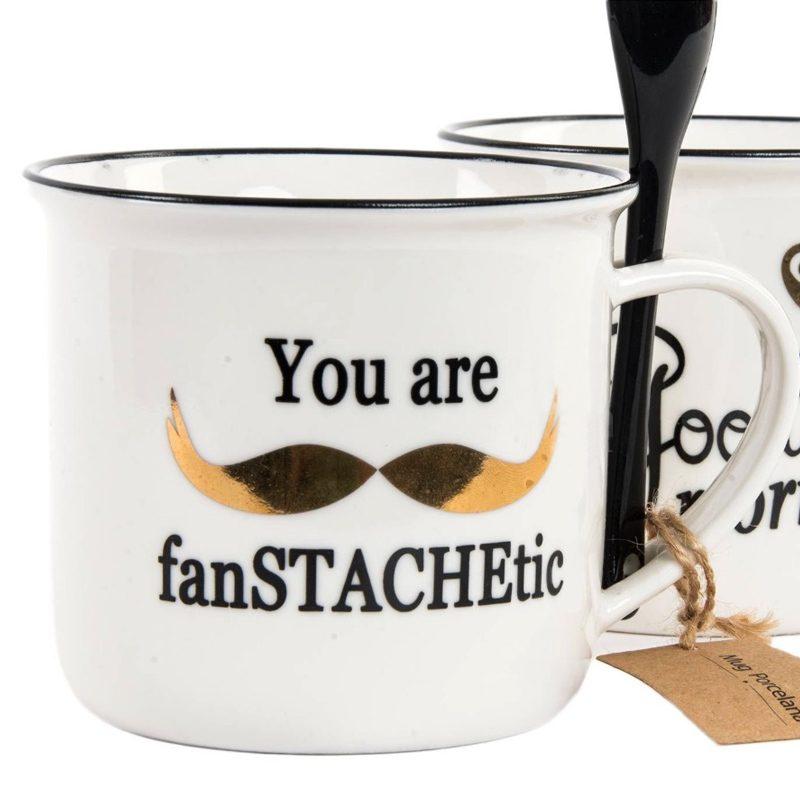 Taza para boda modelo Mustache. Dorado. Con cuchara. 375ml
