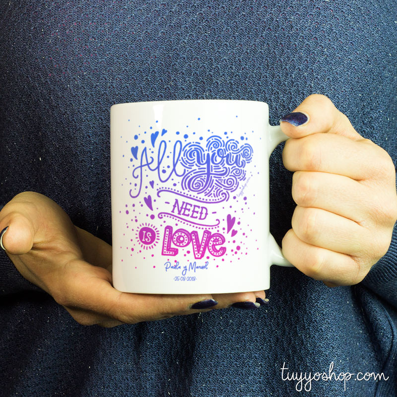 taza para boda modelo all you need is love