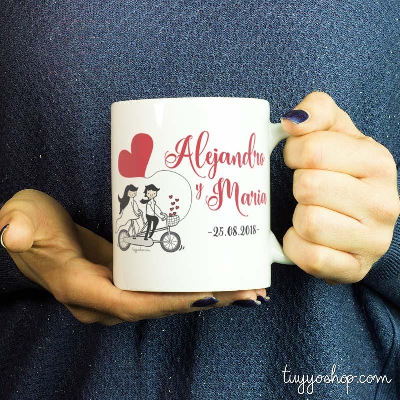 Taza para boda modelo bicicleta doble