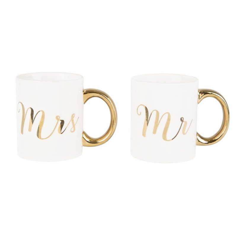 Pareja de tazas para brindis. Mr & Mrs. Dorado.