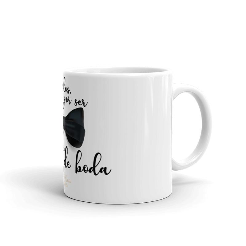 Taza de cerámica para testigos de boda. Modelo pajarita. taza para regalo testigos boda pajarita3