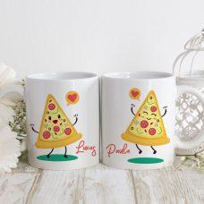 """Taza pareja para boda """"Pizza""""."""
