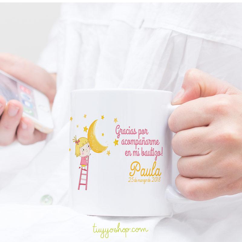 Taza personalizada para bautizo, bebe a la luna