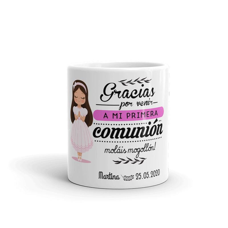 Taza para regalo de comunión. Chica morena.