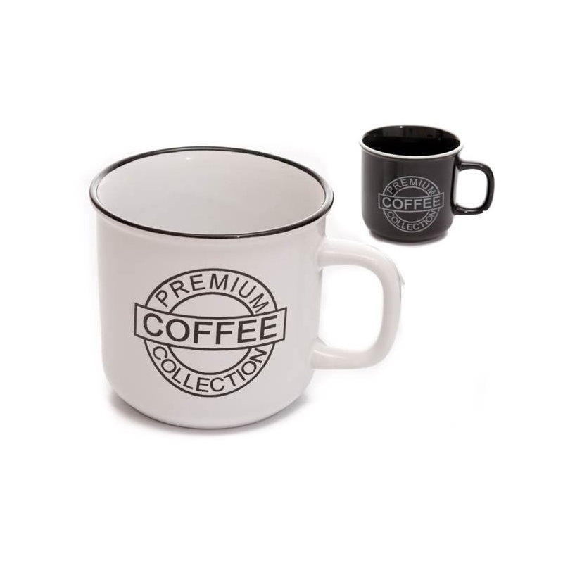 Taza de café para boda, modelo retro. Dos colores. Blanco y negro.