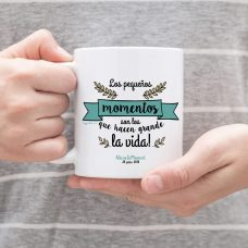 Taza personalizada para boda, pequeños momentos