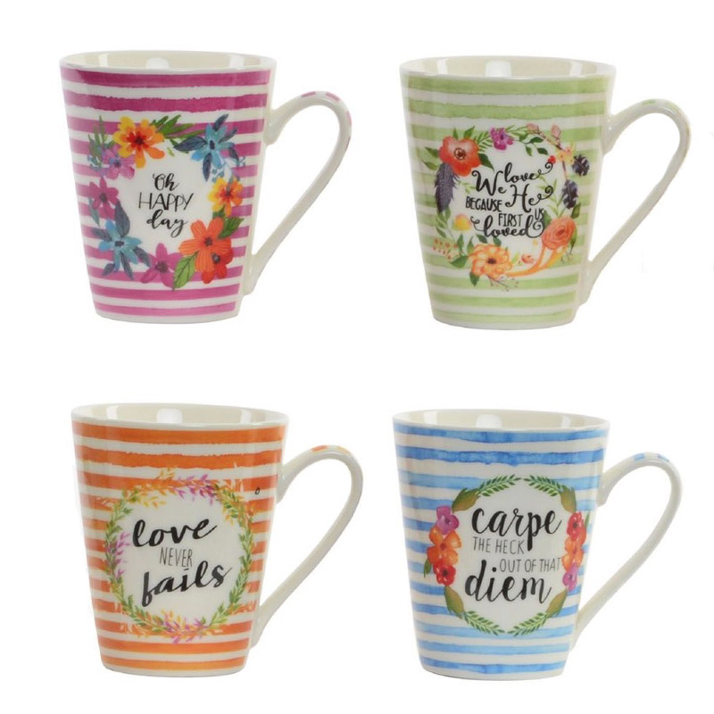 Taza de porcelana para bodas. Oh happy day. 360ml. 4 modelos